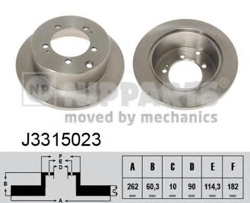 J3315023 Диск тормозной MITSUBISHI LANCER 00/OUTLANDER 0308 (R14) задний
