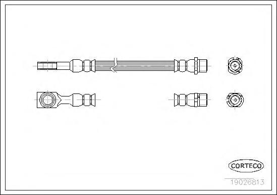 19026813 Шланг тормозной OPEL: ASTRA G Наклонная задняя часть 1.2 16V/1.4 16V/1.6/1.6 16V/1.7 CDTI/1.7 DTI 16V/1.7 TD/1.8 16V/2.