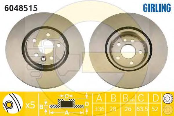 6048515 Диск тормозной VOLVO S80 06-/V70 07-/XC70 05- передний вент.D=336мм.