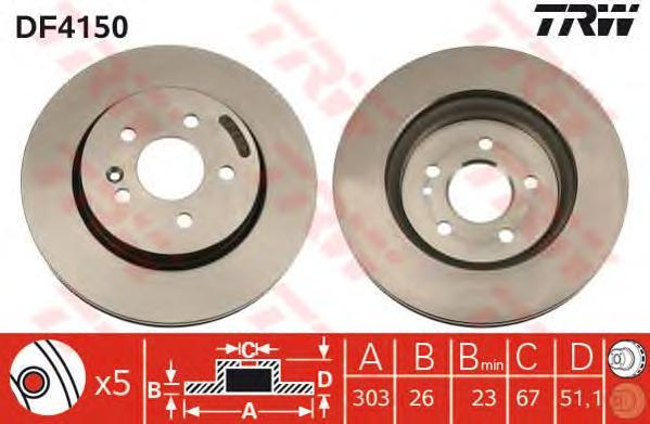 DF4150 Диск тормозной MERCEDES ML W163 230-430 98-05 передний D=303мм.