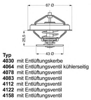 415880D Термостат (с прокладкой) CHRYSLER: VOYAGER II 95-01  DODGE: CARAVAN II 95-01  FORD: SCORPIO II 94-98  JEEP: CHEROKEE 84-
