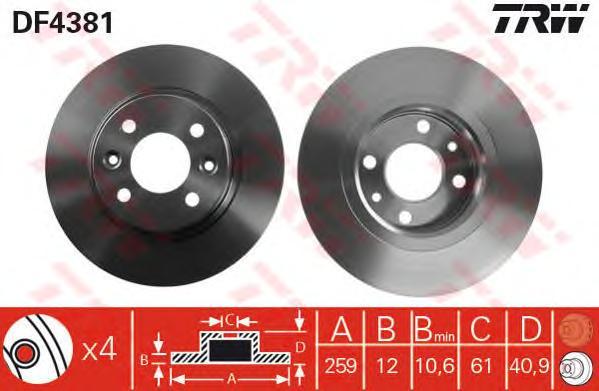 DF4381 Диск тормозной RENAULT LOGAN/SANDERO передний не вент.D=259мм.