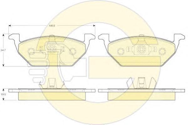6119842 Колодки тормозные AUDI A3 97/VW G4/SKODA OCTAVIA 9709 1.4/1.6/1.8 передние