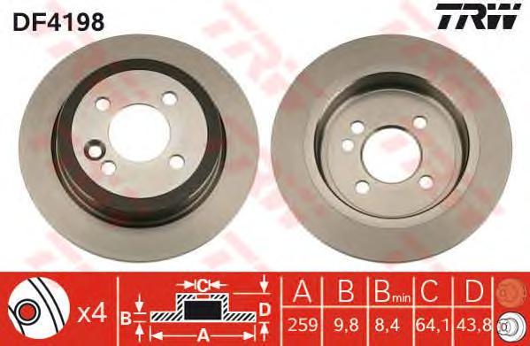 DF4198 Диск тормозной MINI COOPER/ONE/CLUBMAN задний D=259мм.