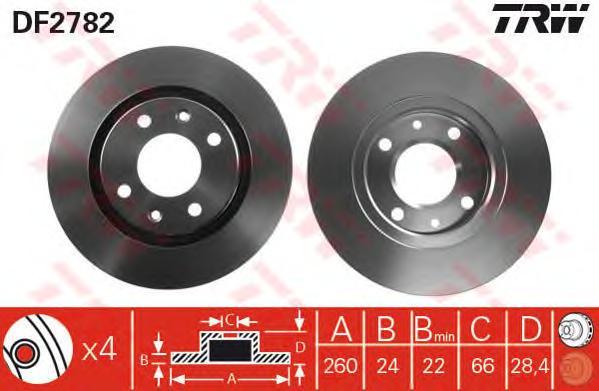 DF2782 Диск тормозной PEUGEOT 406 1.6-1.9 95-04 передний D=260мм.