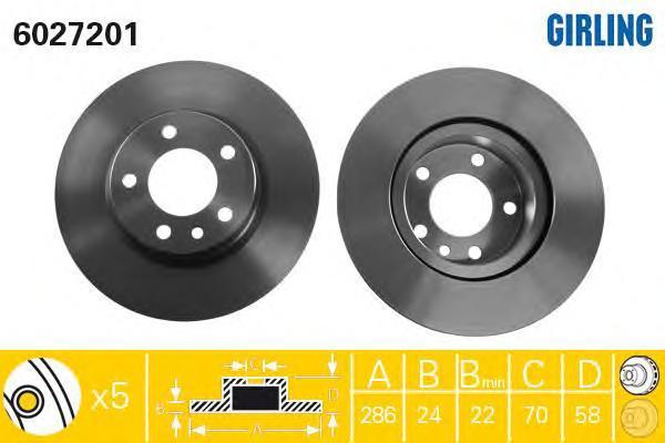 6027201 Диск тормозной OPEL OMEGA B 2.0 94-00 передний D=286мм.