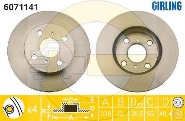 6071141 Диск тормозной TOYOTA COROLLA 1.6 00-02 передний вент.D=238мм.