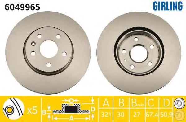 """6049965 Диск тормозной OPEL INSIGNIA 08-/SAAB 9-5 10- R17"""" передний вент.D=321мм."""