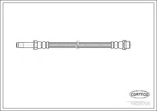 19026705 Шланг тормозной MERCEDES-BENZ: SPRINTER 2-t c бортовой платформой 208 CDI/208 D/210 D/211 CDI/212 D/213 CDI/214/214 NGT