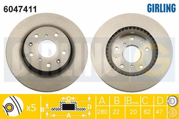 6047411 Диск тормозной SUZUKI SX4 06- передний вент.D=280мм.