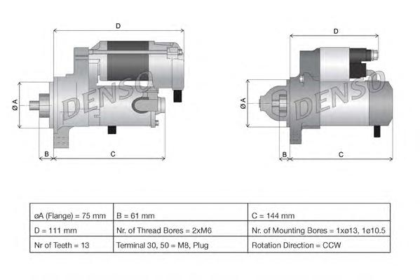 DSN954 Стартер NISSAN X-TRAIL 01- 1.4кВт