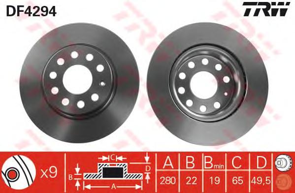 DF4294 Диск тормозной AUDI A3 03-/SKODA OCTAVIA/VW GOLF V/VI/JETTA III передний D=280мм