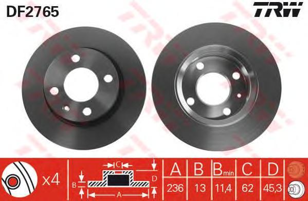 DF2765 Диск тормозной SKODA FELICIA 1.3-1.9 94-98 передний