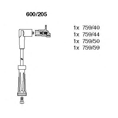 600205 К-т проводов зажигания REN Clio I/II, Ka, Tw