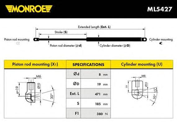 ML5427 Амортизатор крышки багажника VOLVO: S80 (TS, XY) 2.0/2.0 T/2.3 R/2.4/2.4 Bifuel/2.4 D/2.4 D5/2.4 LTP/2.4 T/2.4 T5 AWD/2.5