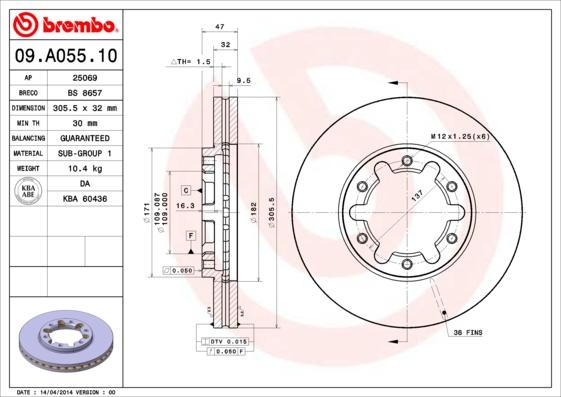 09A05510 Диск тормозной NISSAN PATROL 2.8D-3.0D 97-10 передний