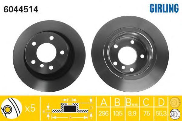 6044514 Диск тормозной BMW 1 E81/E87/3 E90 1.6-2.0 04- задний D=296мм.