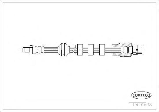 19031638 Шланг тормозной BMW: 5 520 d/523 i/525 d/525 i/525 xi/530 d/530 i/535 d 03-10, 5 Touring 520 d/523 i/525 d/525 i/530 d/