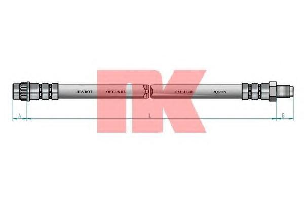 853939 Шланг тормозной RENAULT MEGANE 96-/SCENIC 99-03 перед.