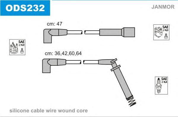 ODS232 Комплект проводов зажигания OPEL: VECTRA A 88-95, VECTRA A хэтчбек 88-95