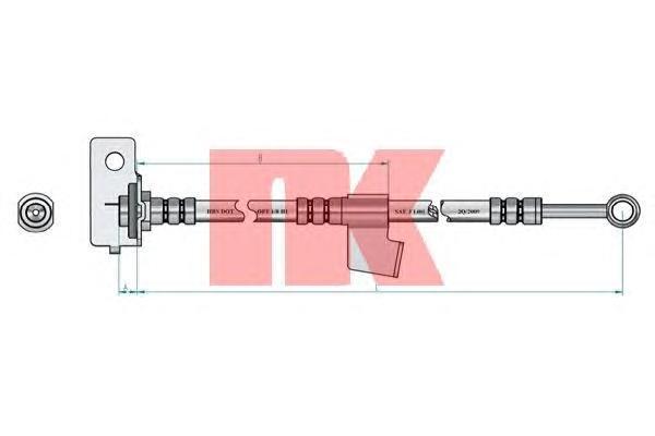 853448 Шланг тормозной HYUNDAI GETZ 02- передний правый L=480мм.