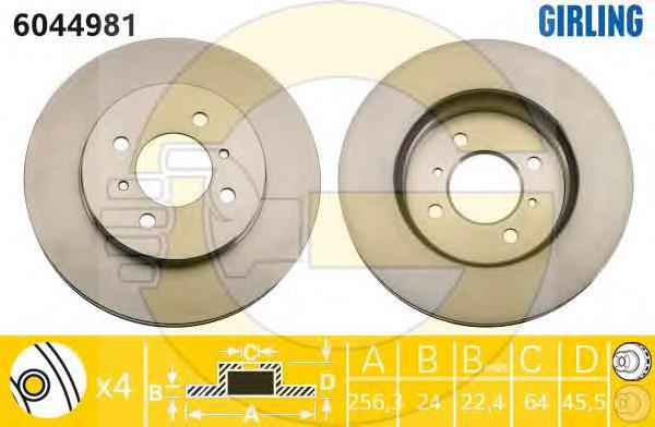 6044981 Диск тормозной MITSUBISHI COLT 1.8 9297/LANCER R14 1.3-1.8(GEN) 00 передний