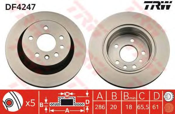 DF4247 Диск тормозной OPEL OMEGA B 94-03 задний вент.D=286мм.