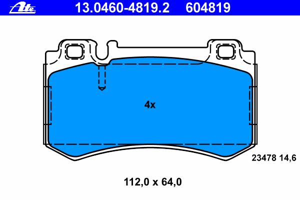 13046048192 Колодки тормозные дисковые задн, MERCEDES-BENZ: CLK 55 AMG/63 AMG 02-09, CLK кабрио CLK 55 AMG/CLK 63 AMG 03-10, S-C
