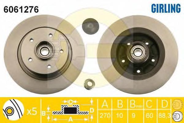 6061276 Диск тормозной RENAULT MEGANE II 2.0D 05- задний с подшипником,с кольцом АБС
