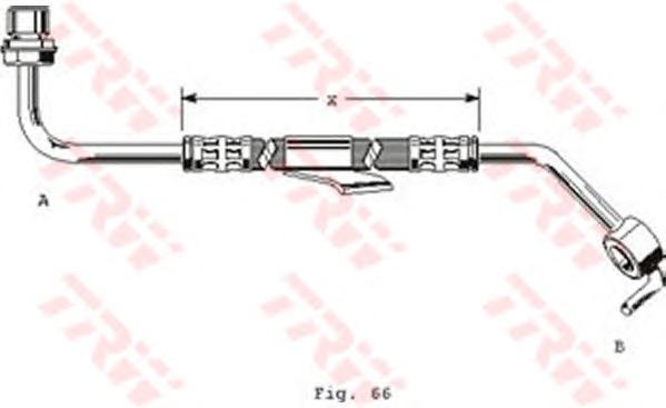 PHD249 Шланг тормозной передн 600мм FORD: TRANSIT 80-120 11/85-8/91