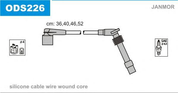 ODS226 Комплект проводов зажигания OPEL: OMEGA B 94-03, VECTRA B 95-02, VECTRA B хэтчбек 95-03, VECTRA B универсал 96-03