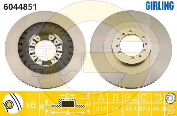 6044851 Диск тормозной MITSUBISHI PAJERO 2.5-3.0 90-00/PAJERO SPORT 2.5-3.0 98- передний