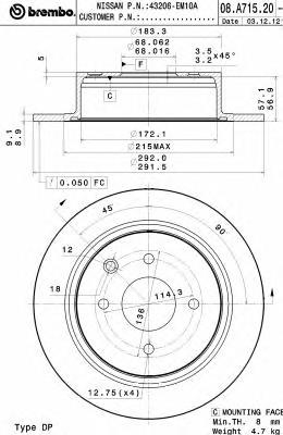 08A71520 Диск тормозной NISSAN TIIDA 07-10 задний