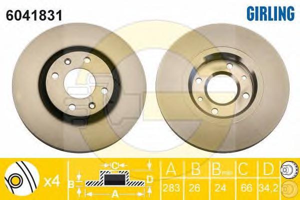 6041831 Диск тормозной CITROEN BERLINGO +ESP/C5/C4/PEUGEOT 207 05/307 05 передний