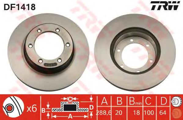 DF1418 Диск тормозной TOYOTA 4 RUNNER 2.4-3.0 87-95/HILUX 92-/VW TARO 89-97 передний