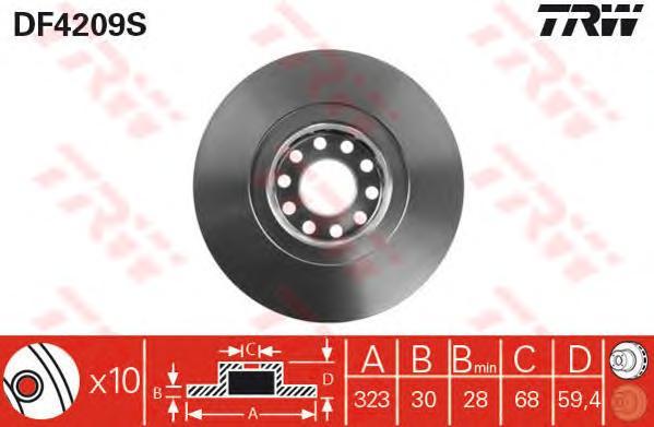 DF4209S Диск тормозной AUDI A8 2.5-6.0 94-10/VW PHAETON 3.2 02- передний D=323мм.