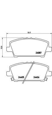 P28037 Колодки тормозные HONDA CIVIC Hatchback 05- передние