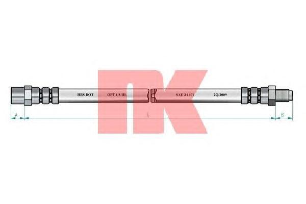854762 Шланг тормозной задний / AUDI-80  (трубка-суппорт)  91-96