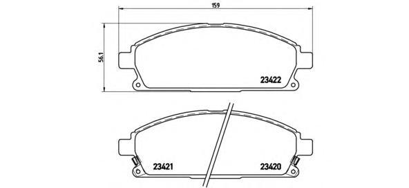 P56040 Колодки тормозные NISSAN PATHFINDER 97-04/X-TRAIL 01-07 передние с инд.износа