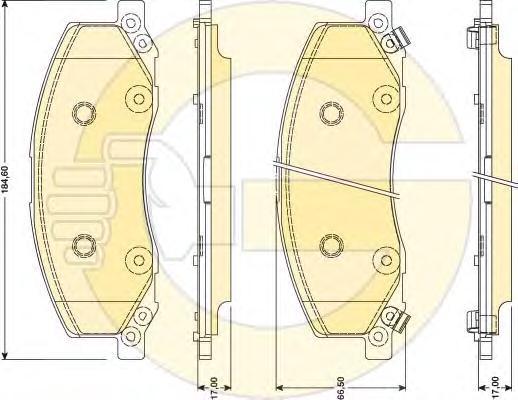 """6117811 Колодки тормозные OPEL INSIGNIA 08-/SAAB 9-5 10- R18"""" передние"""
