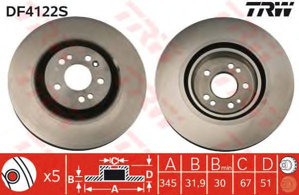 DF4222S Диск тормозной MERCEDES ML W163 270-500 98-05 передний D=345мм.