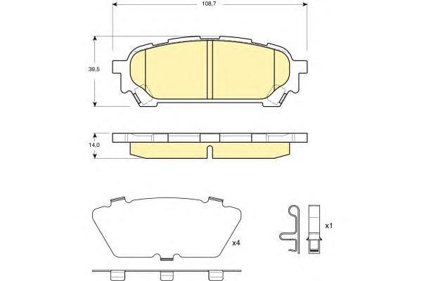 6133959 Колодки тормозные SUBARU IMPREZA 2.0 11.02- задние