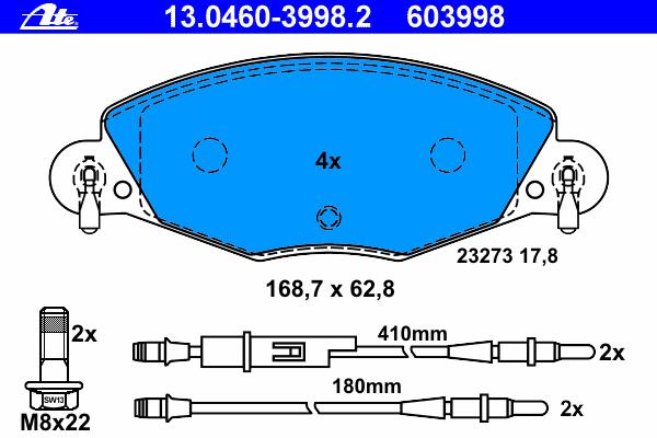 13046039982 Колодки тормозные дисковые передн, CITROEN: C5 2.2 HDi/3.0 V6 01-04, C5 2.0 HDi/2.2 HDi/2.2 HDi/3.0 V6 04-, C5 Break