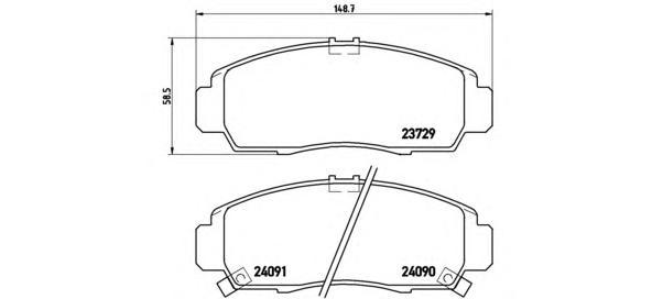 P28034 Колодки тормозные HONDA CIVIC 01-05/FR-V 1.7-2.2 05-/STREAM 1.7/2.0 01- передние