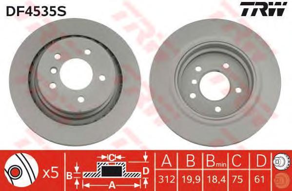 DF4535S Диск тормозной BMW M3 E36 3.0-3.2 92-03 задний левый