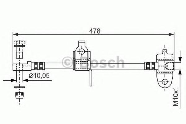 1987481070 Шланг тормозной FORD TRANSIT 00-06 передний правый 478мм