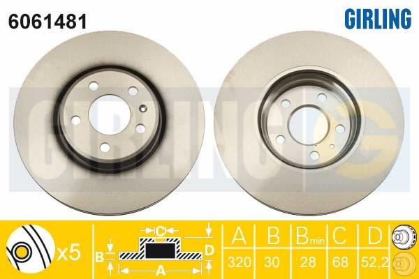 6061481 Диск тормозной AUDI A4/A5 07-/A6/A7 10-/Q5 08- передний вент.D=320мм.