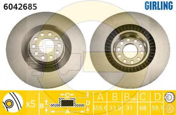6042685 Диск тормозной AUDI A8 3.0-6.0 02-10/VW PHAETON 3.0-4.2 02- передний D=360мм.