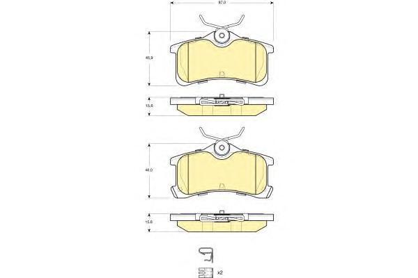 6133341 Колодки тормозные TOYOTA AVENSIS 1.6-2.0 97-03/COROLLA 1.4-1.9 00-02 задние