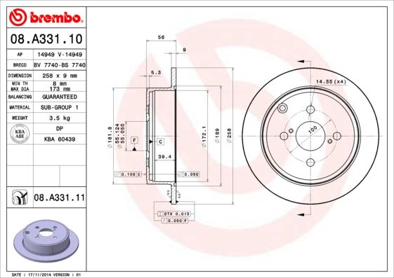 08A33110 Диск тормозной TOYOTA COROLLA (E12) 1.4-1.8 02- задний
